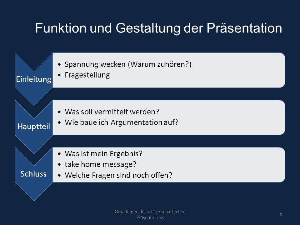 Funktion und Gestaltung der Präsentation