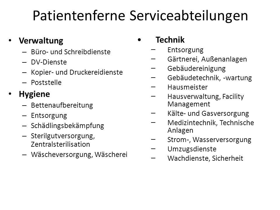 Patientenferne Serviceabteilungen