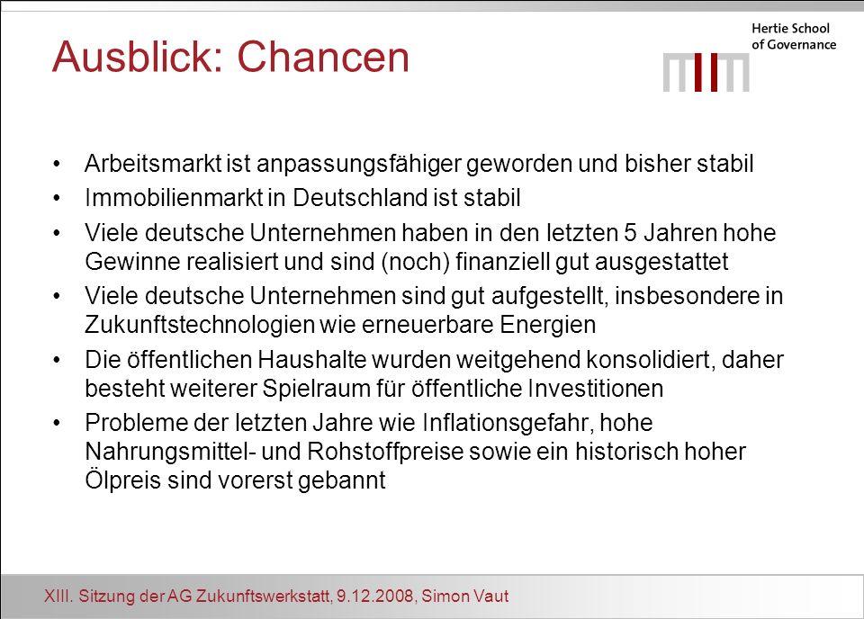 Ausblick: Chancen Arbeitsmarkt ist anpassungsfähiger geworden und bisher stabil. • Immobilienmarkt in Deutschland ist stabil.