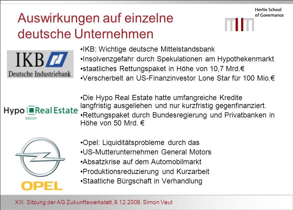 Auswirkungen auf einzelne deutsche Unternehmen