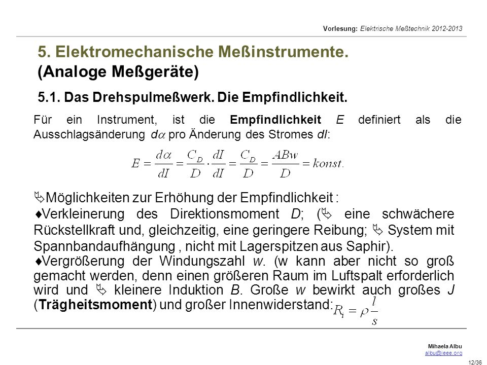 5. Elektromechanische Meßinstrumente. (Analoge Meßgeräte) 5. 1