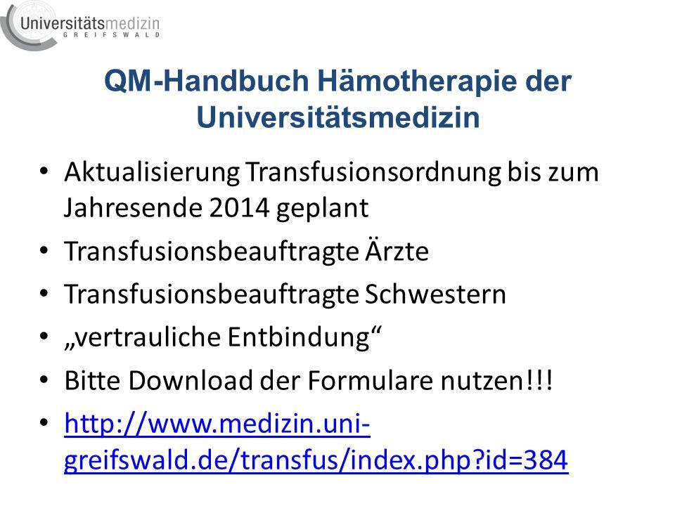 QM-Handbuch Hämotherapie der Universitätsmedizin