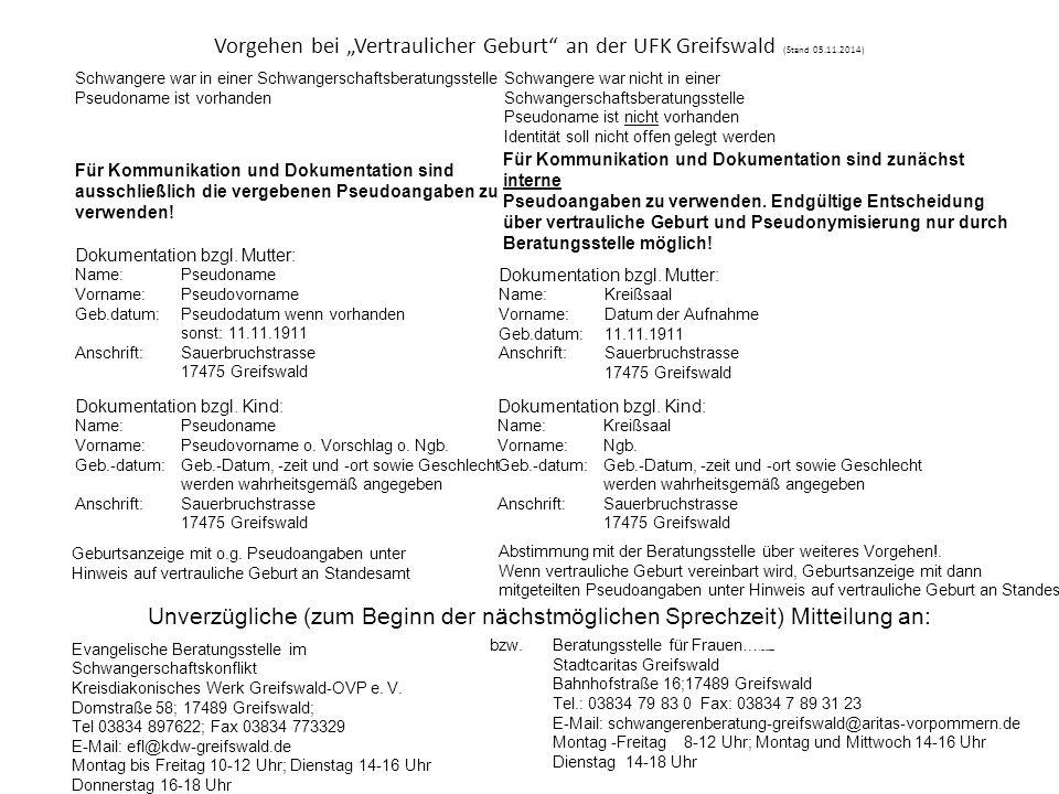 """Vorgehen bei """"Vertraulicher Geburt an der UFK Greifswald (Stand 05.11.2014)"""