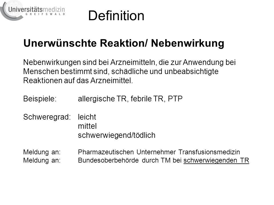 Definition Unerwünschte Reaktion/ Nebenwirkung
