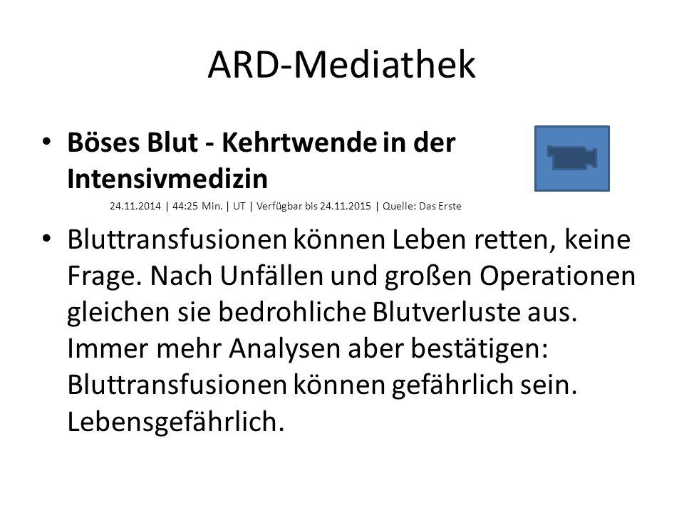 ARD-Mediathek Böses Blut - Kehrtwende in der Intensivmedizin