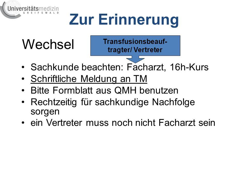 Zur Erinnerung Wechsel Sachkunde beachten: Facharzt, 16h-Kurs