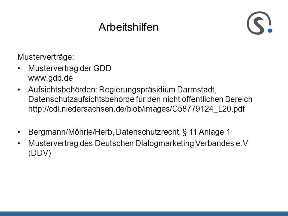 Arbeitshilfen Musterverträge: Mustervertrag der GDD www.gdd.de