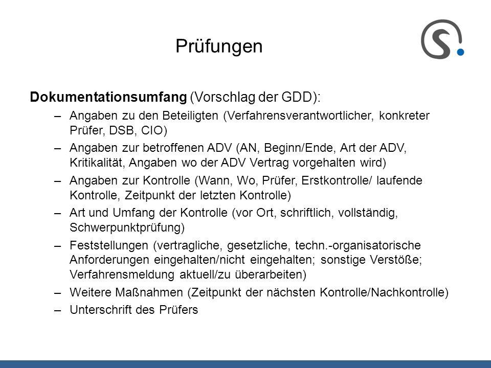 Prüfungen Dokumentationsumfang (Vorschlag der GDD):