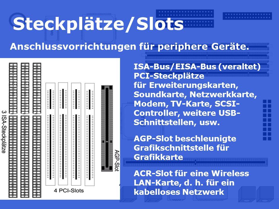 Steckplätze/Slots Anschlussvorrichtungen für periphere Geräte.