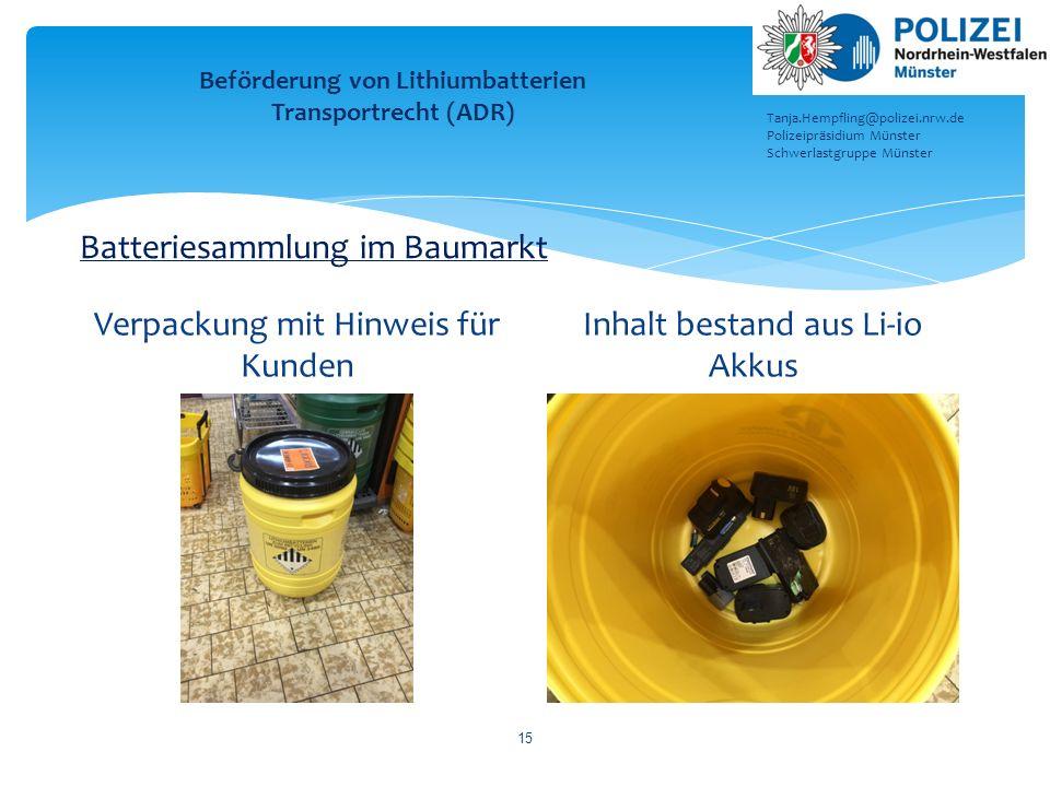Beförderung von Lithiumbatterien