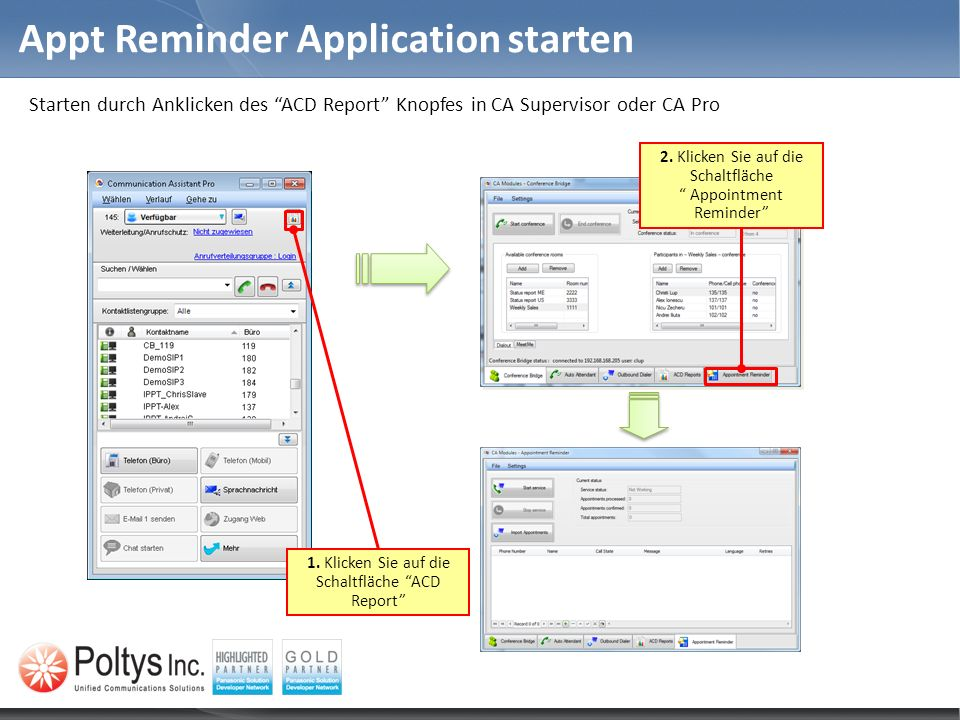 Appt Reminder Application starten