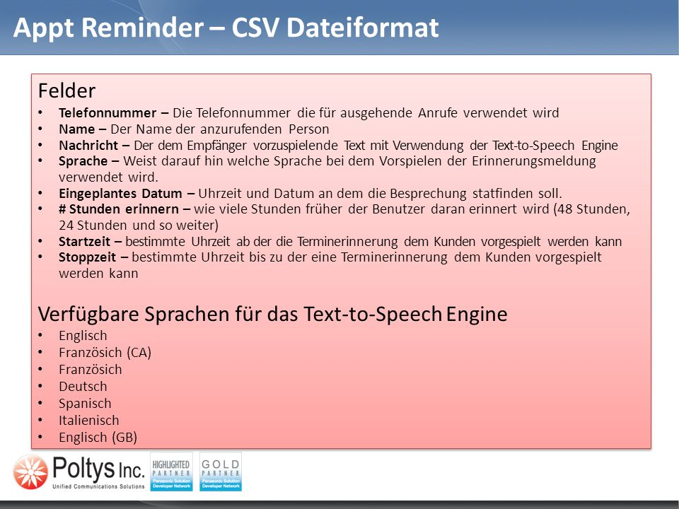Appt Reminder – CSV Dateiformat