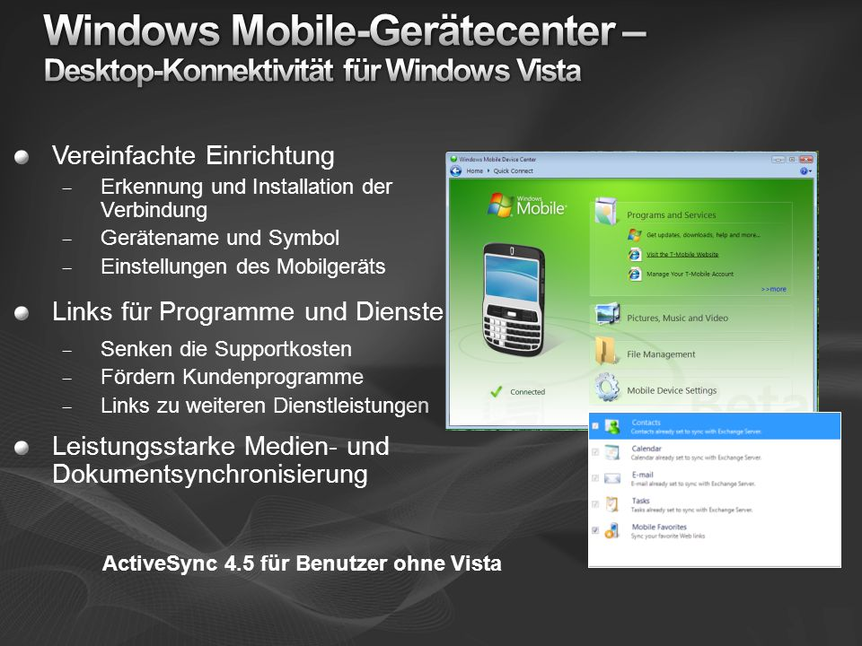 Windows Mobile-Gerätecenter – Desktop-Konnektivität für Windows Vista