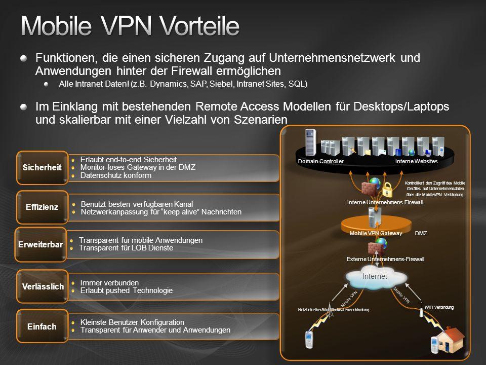 Mobile VPN Vorteile Funktionen, die einen sicheren Zugang auf Unternehmensnetzwerk und Anwendungen hinter der Firewall ermöglichen.