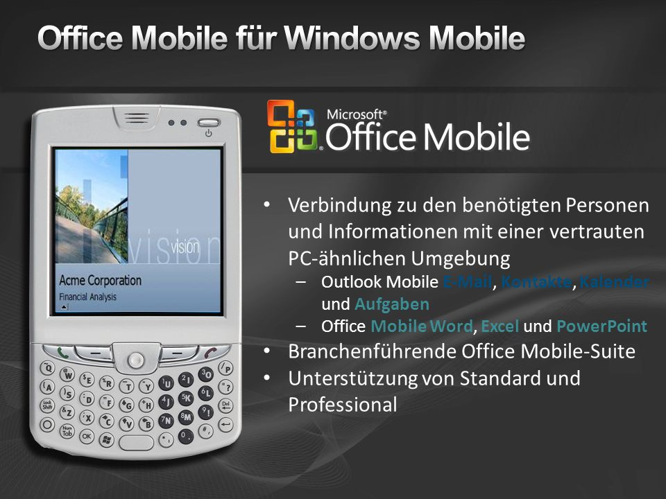 Office Mobile für Windows Mobile