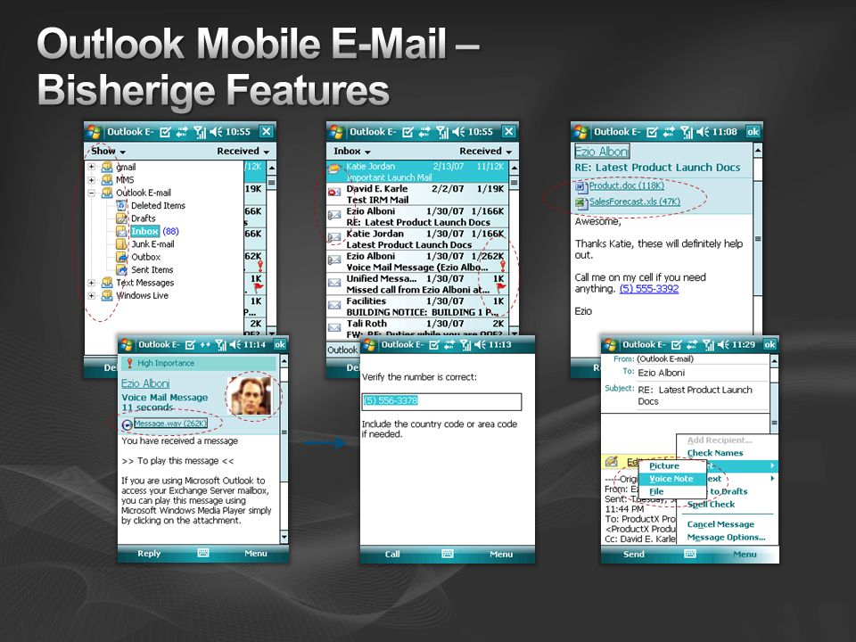 Outlook Mobile E-Mail – Bisherige Features