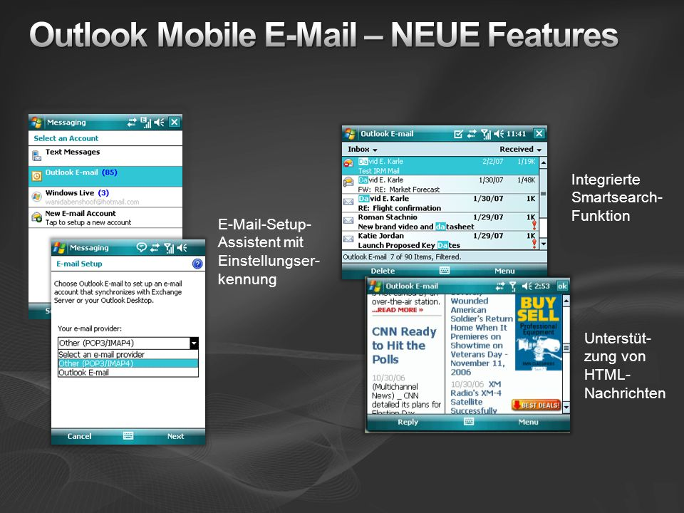 Outlook Mobile E-Mail – NEUE Features