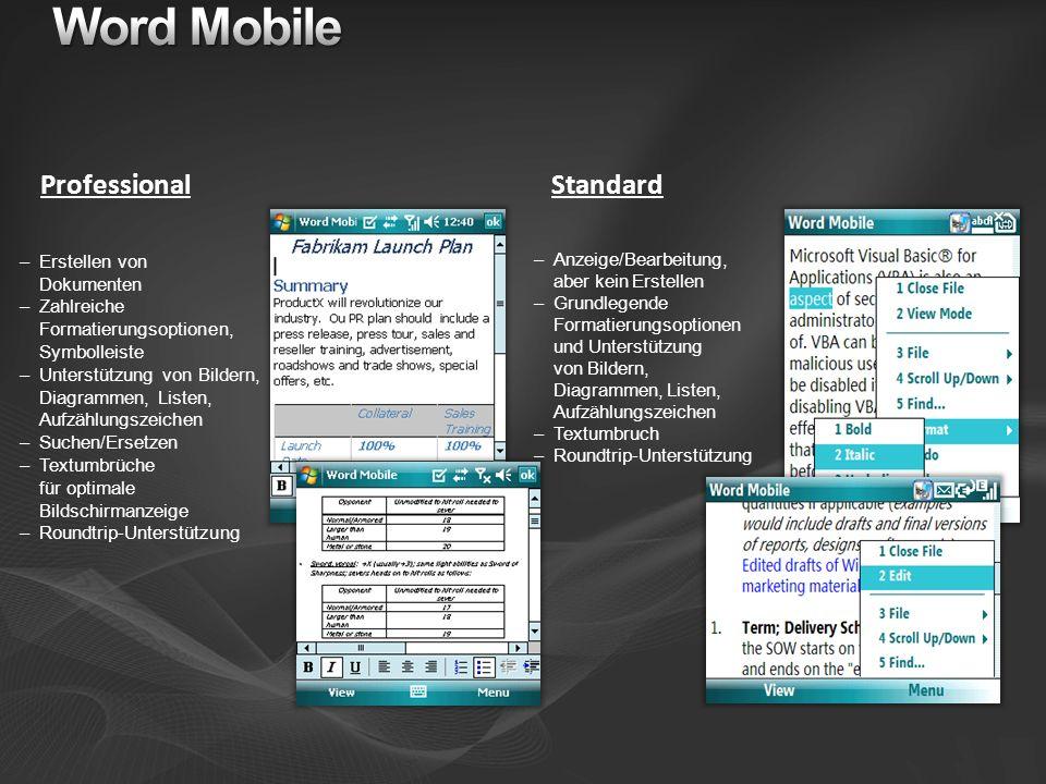 Word Mobile Professional Standard Erstellen von Dokumenten