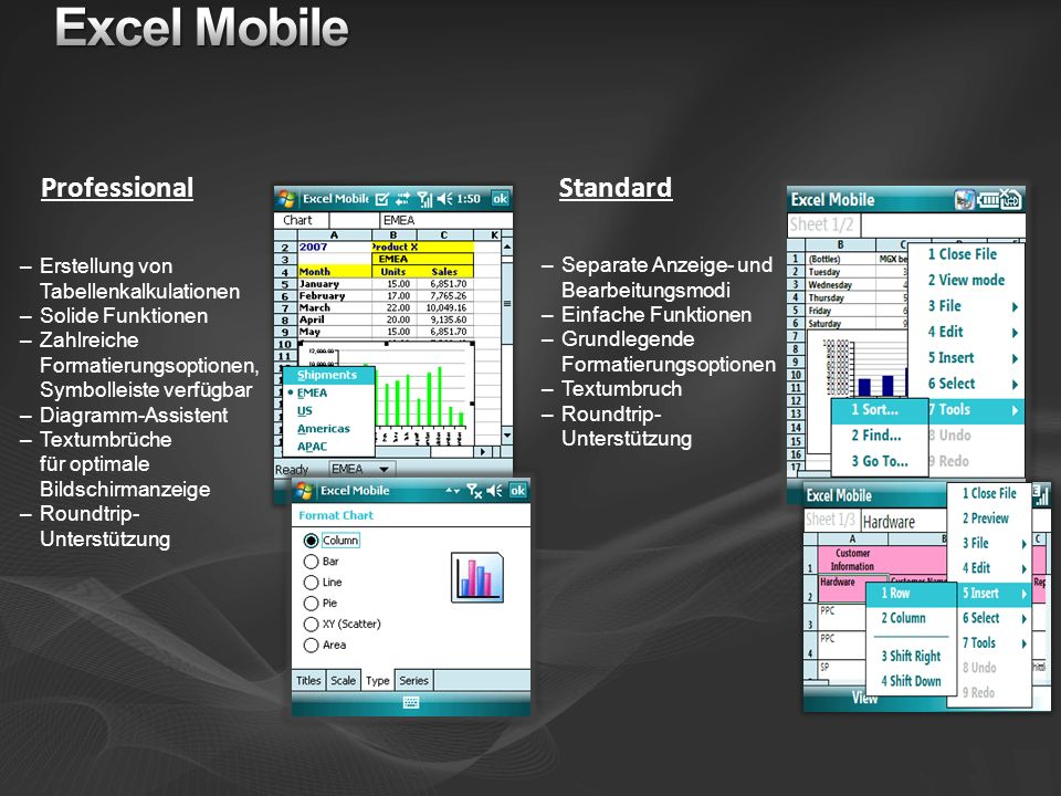 Excel Mobile Professional Standard