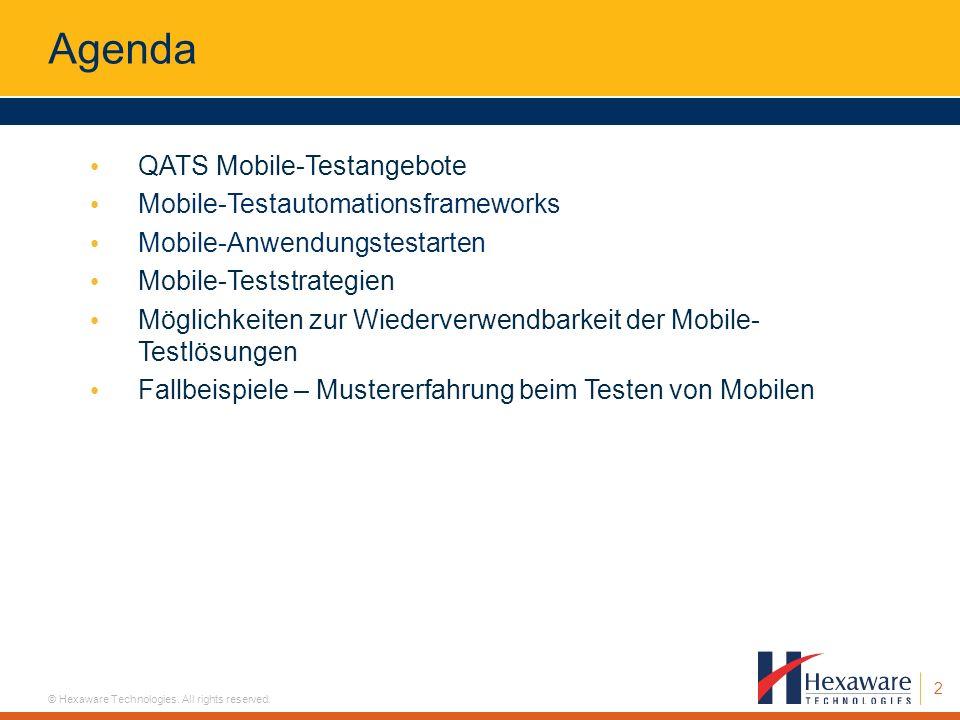 Agenda QATS Mobile-Testangebote Mobile-Testautomationsframeworks