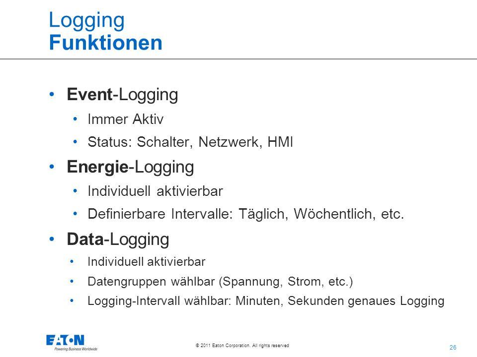 Logging Funktionen Event-Logging Energie-Logging Data-Logging