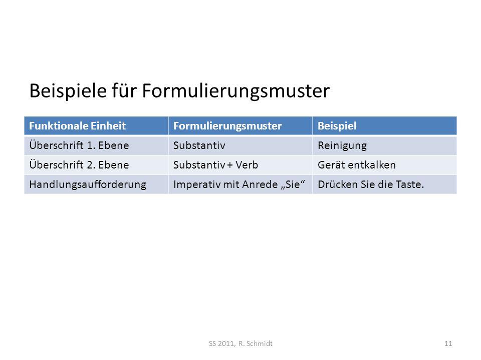 Beispiele für Formulierungsmuster