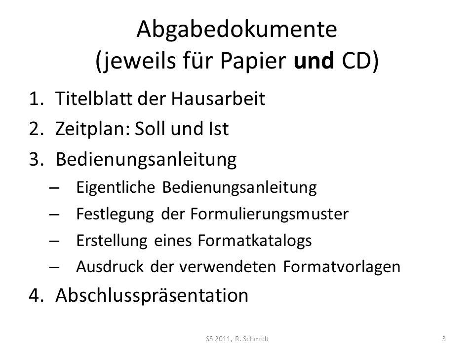 Abgabedokumente (jeweils für Papier und CD)