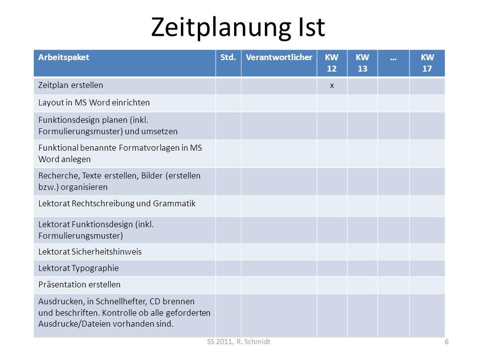 Zeitplanung Ist Arbeitspaket Std. Verantwortlicher KW 12 KW 13 … KW 17