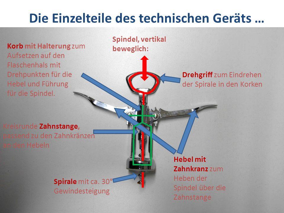Die Einzelteile des technischen Geräts …