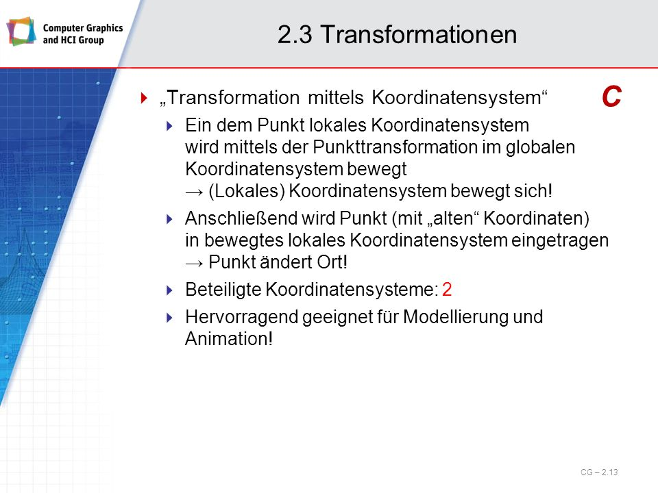 """C 2.3 Transformationen """"Transformation mittels Koordinatensystem"""