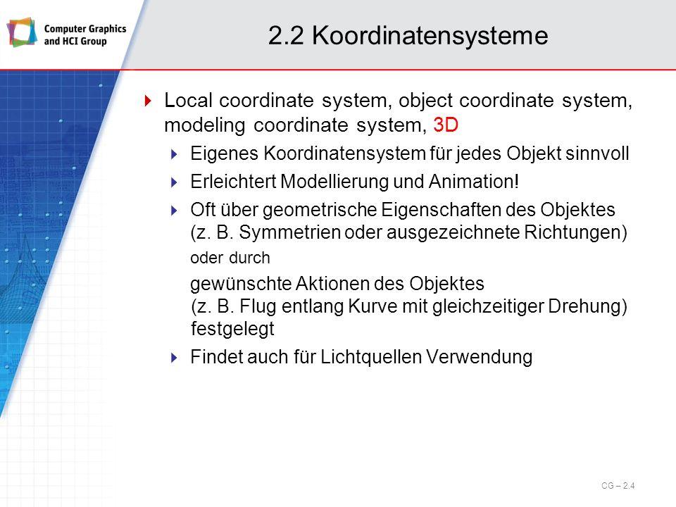 2.2 Koordinatensysteme Local coordinate system, object coordinate system, modeling coordinate system, 3D.