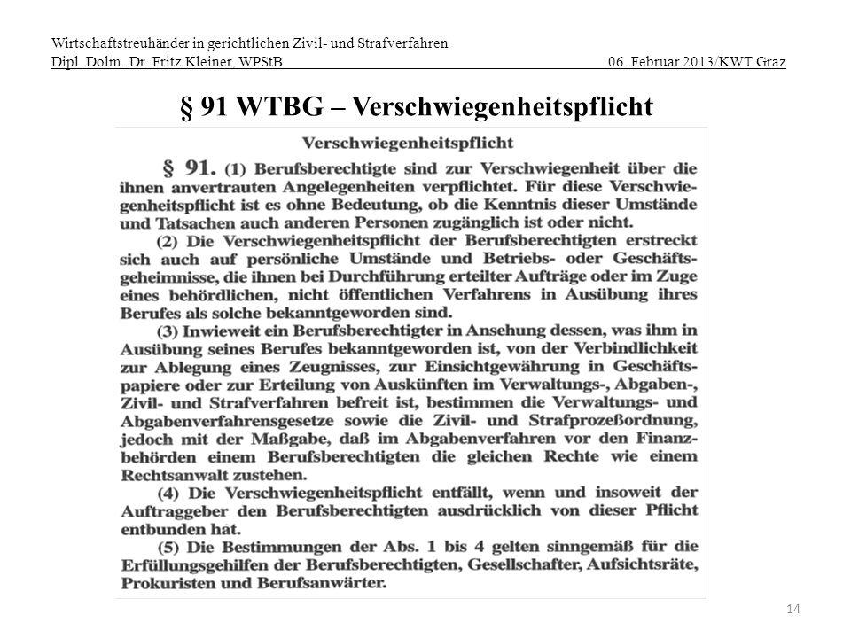 § 91 WTBG – Verschwiegenheitspflicht