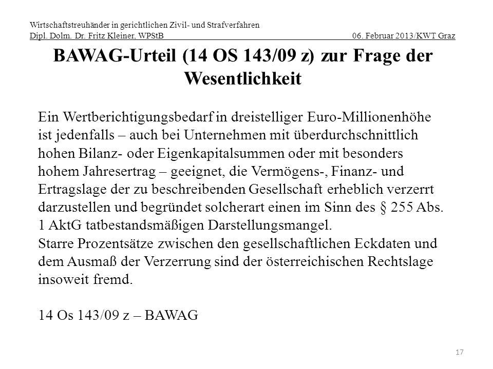 BAWAG-Urteil (14 OS 143/09 z) zur Frage der Wesentlichkeit