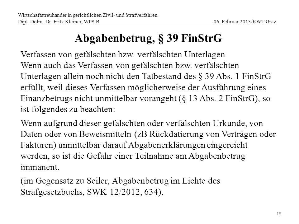 Abgabenbetrug, § 39 FinStrG