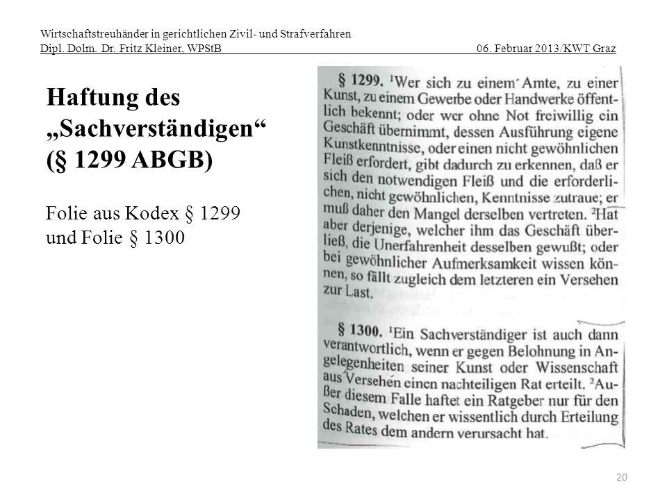"""Haftung des """"Sachverständigen (§ 1299 ABGB) Folie aus Kodex § 1299"""
