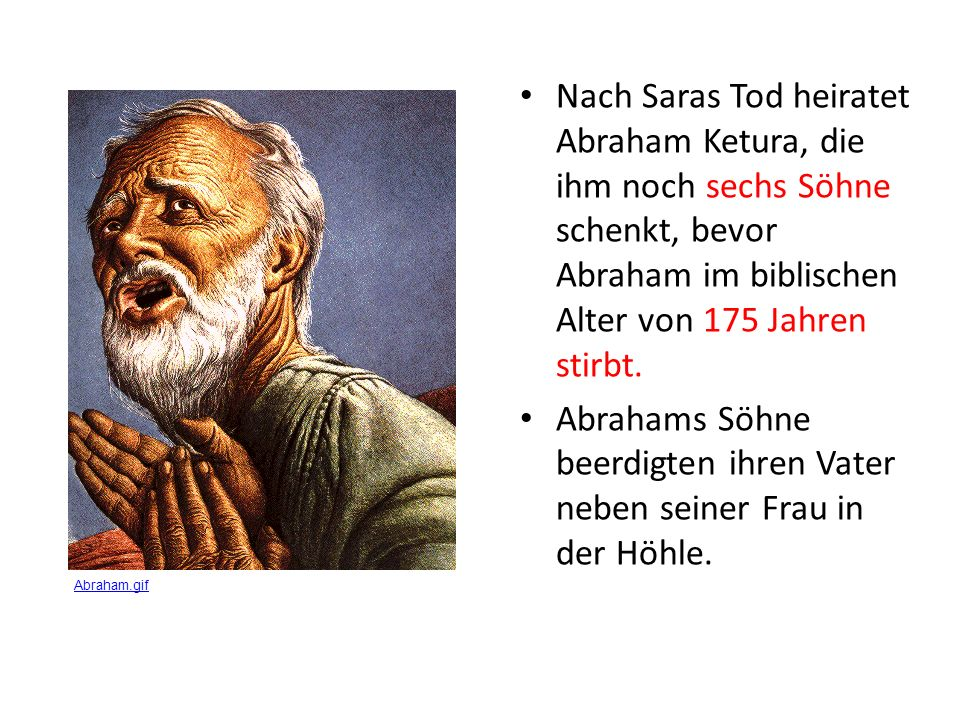Abrahams Söhne beerdigten ihren Vater neben seiner Frau in der Höhle.