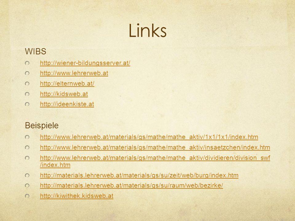 Links WIBS Beispiele http://wiener-bildungsserver.at/