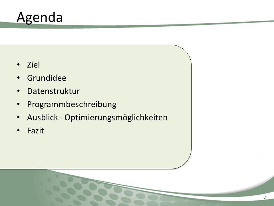 Agenda Ziel Grundidee Datenstruktur Programmbeschreibung