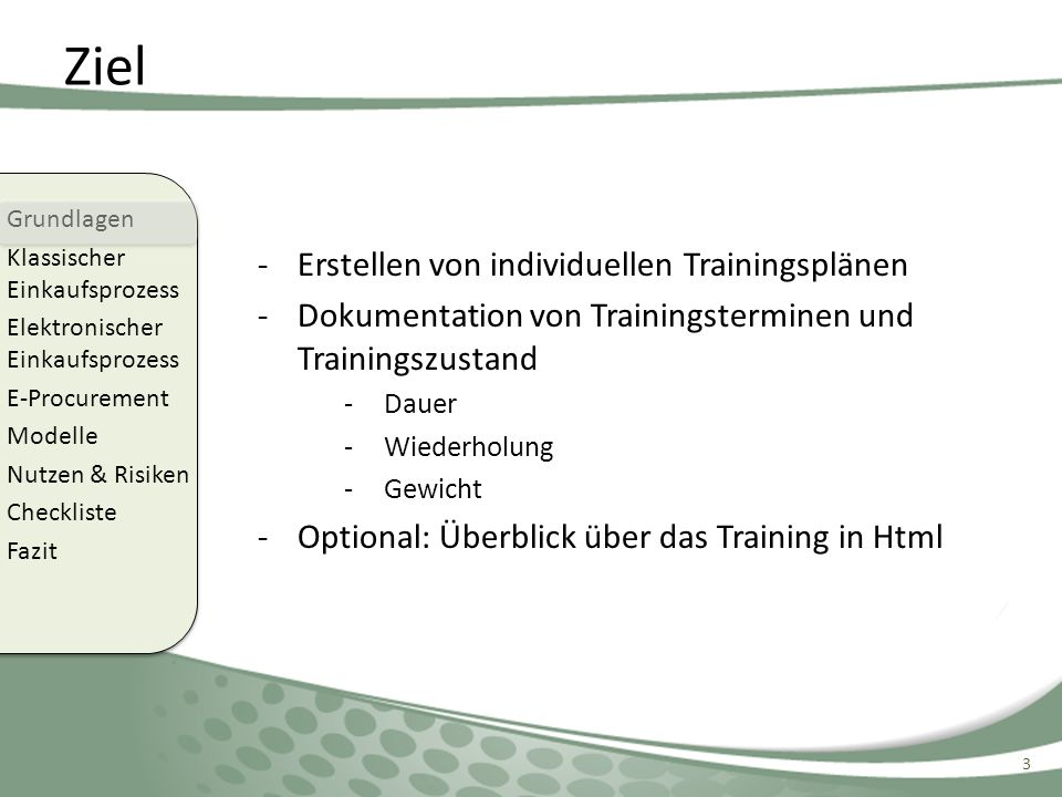 Ziel Erstellen von individuellen Trainingsplänen