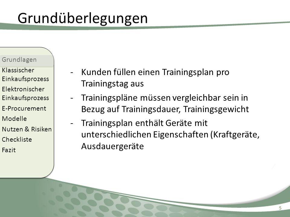 Grundüberlegungen Kunden füllen einen Trainingsplan pro Trainingstag aus.