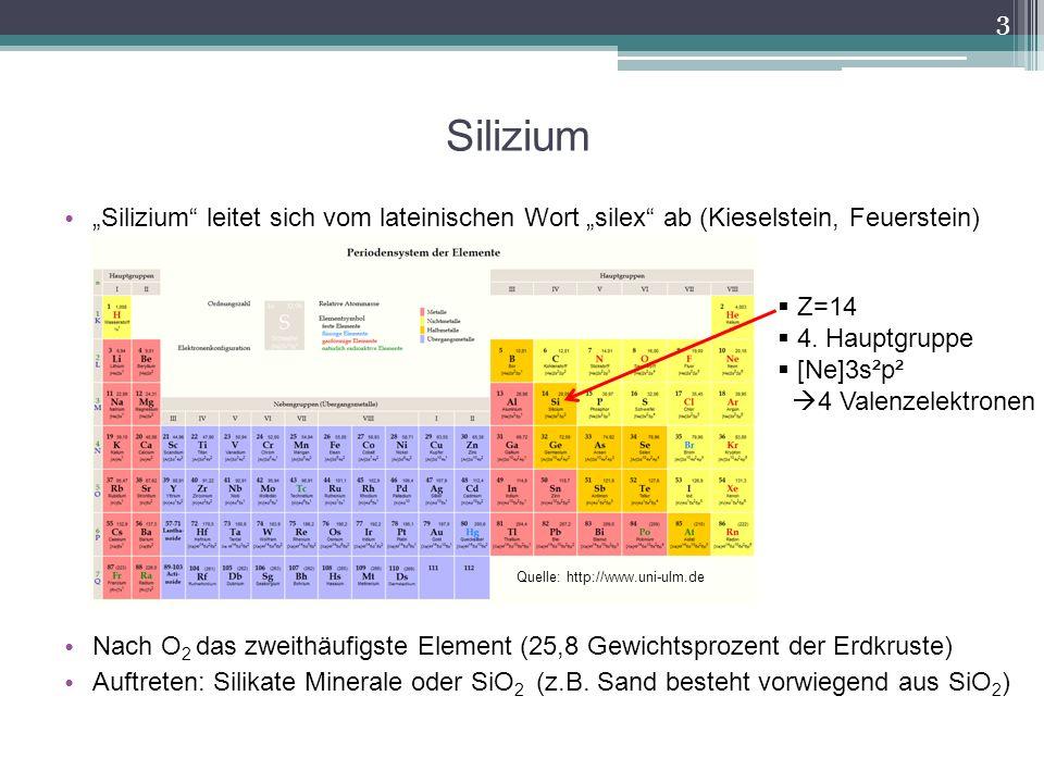 """Silizium """"Silizium leitet sich vom lateinischen Wort """"silex ab (Kieselstein, Feuerstein)"""