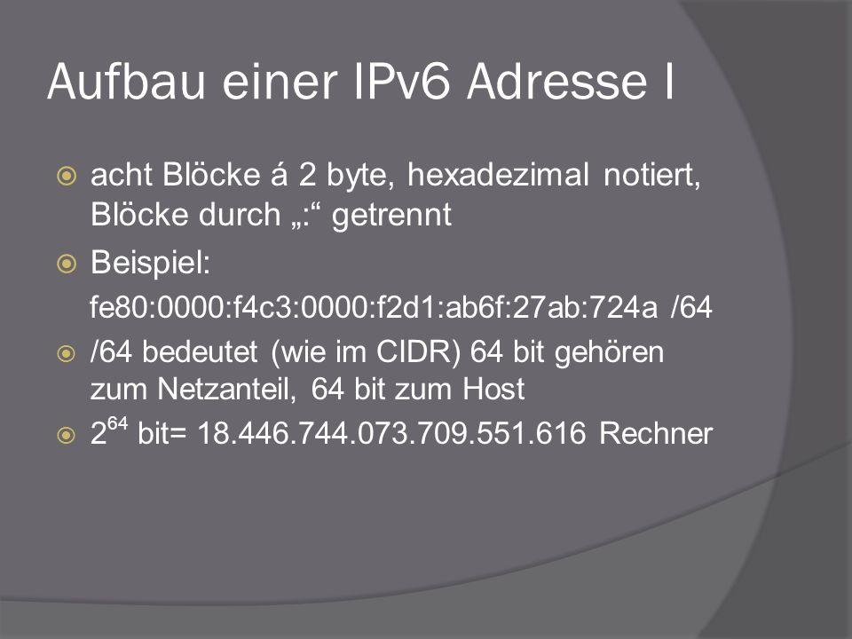 Aufbau einer IPv6 Adresse I