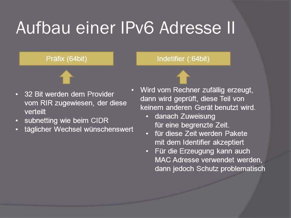 Aufbau einer IPv6 Adresse II