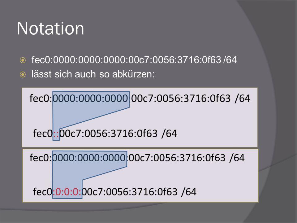 Notation fec0:0000:0000:0000:00c7:0056:3716:0f63 /64