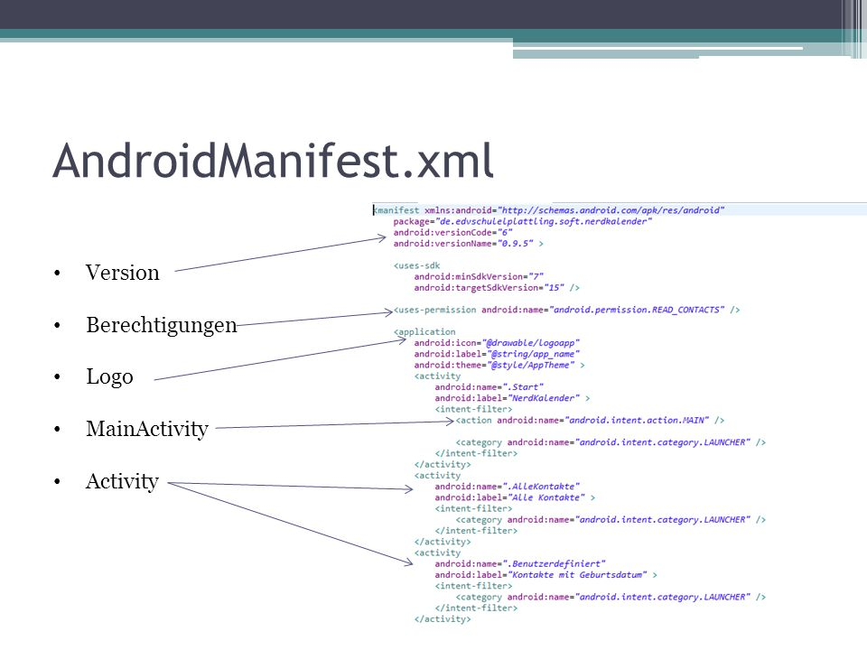 AndroidManifest.xml Version Berechtigungen Logo MainActivity Activity