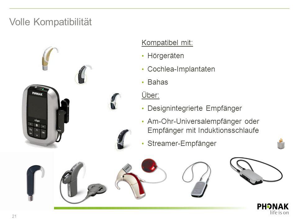 Volle Kompatibilität Kompatibel mit: Hörgeräten Cochlea-Implantaten