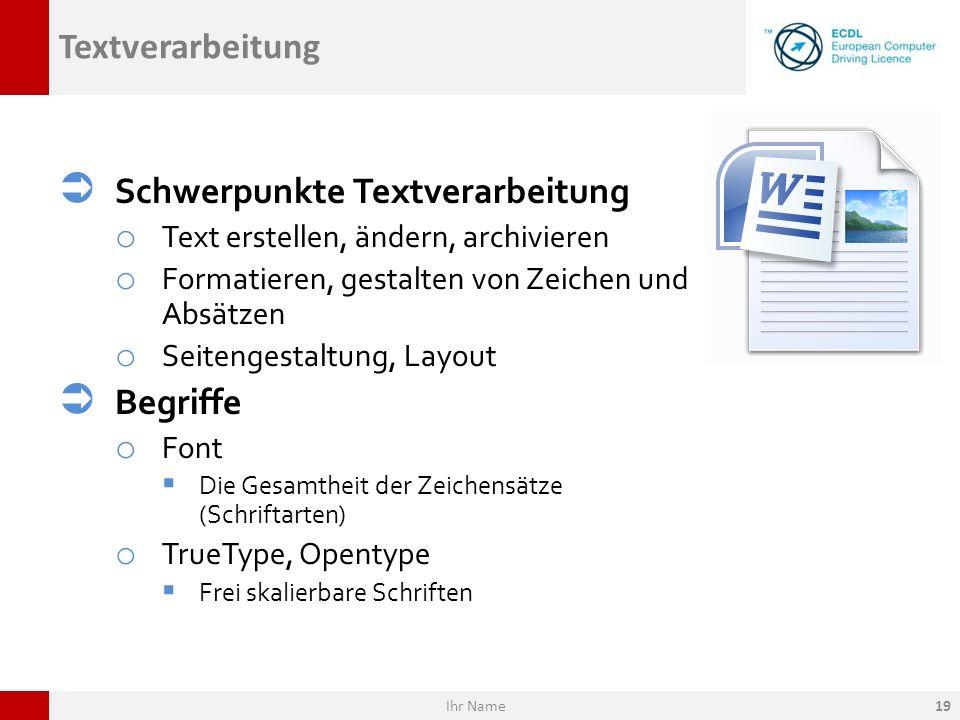 Schwerpunkte Textverarbeitung