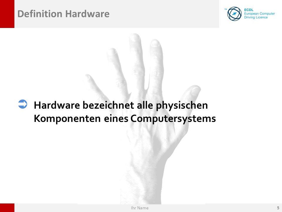 Hardware bezeichnet alle physischen Komponenten eines Computersystems