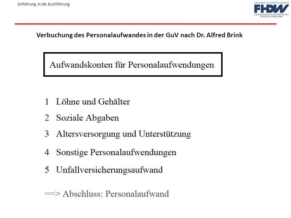 Verbuchung des Personalaufwandes in der GuV nach Dr. Alfred Brink