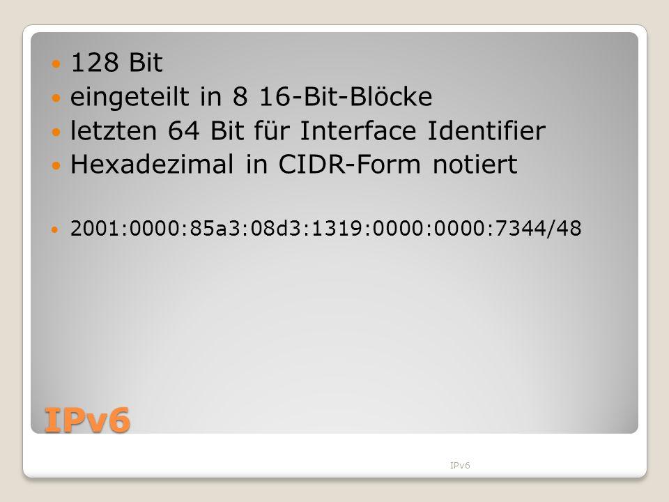IPv6 128 Bit eingeteilt in 8 16-Bit-Blöcke